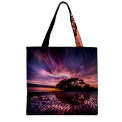 Landscape Reflection Waves Ripples Zipper Grocery Tote Bag
