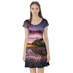 Landscape Reflection Waves Ripples Short Sleeve Skater Dress
