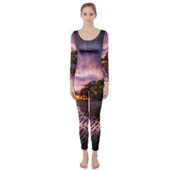Landscape Reflection Waves Ripples Long Sleeve Catsuit