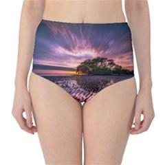 Landscape Reflection Waves Ripples High-Waist Bikini Bottoms