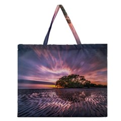Landscape Reflection Waves Ripples Zipper Large Tote Bag