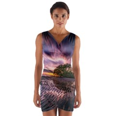 Landscape Reflection Waves Ripples Wrap Front Bodycon Dress