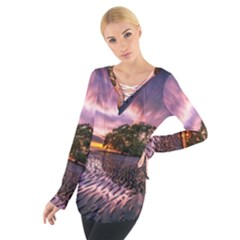 Landscape Reflection Waves Ripples Women s Tie Up Tee