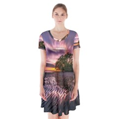 Landscape Reflection Waves Ripples Short Sleeve V Neck Flare Dress