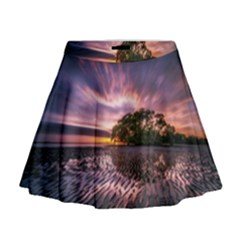 Landscape Reflection Waves Ripples Mini Flare Skirt