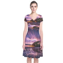 Landscape Reflection Waves Ripples Short Sleeve Front Wrap Dress
