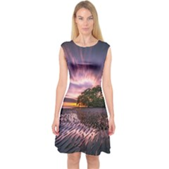Landscape Reflection Waves Ripples Capsleeve Midi Dress