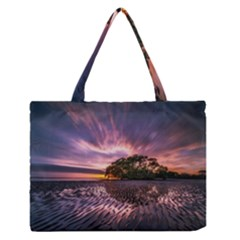 Landscape Reflection Waves Ripples Medium Zipper Tote Bag