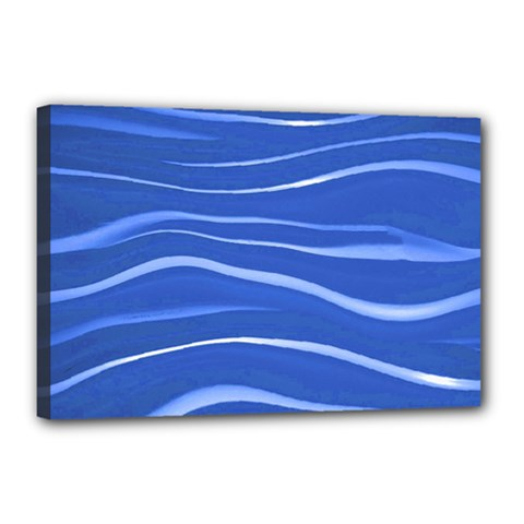 Lines Swinging Texture  Blue Background Canvas 18  X 12