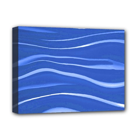 Lines Swinging Texture  Blue Background Deluxe Canvas 16  X 12