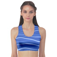 Lines Swinging Texture  Blue Background Sports Bra