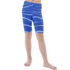 Lines Swinging Texture  Blue Background Kids  Mid Length Swim Shorts