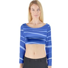Lines Swinging Texture  Blue Background Long Sleeve Crop Top