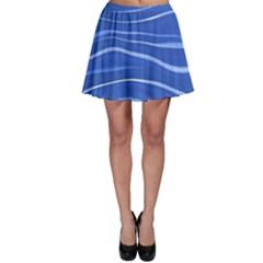 Lines Swinging Texture  Blue Background Skater Skirt