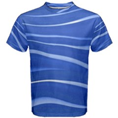 Lines Swinging Texture  Blue Background Men s Cotton Tee