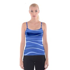 Lines Swinging Texture  Blue Background Spaghetti Strap Top
