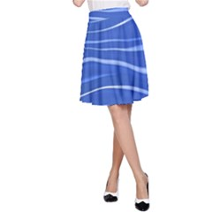 Lines Swinging Texture  Blue Background A Line Skirt