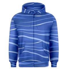 Lines Swinging Texture  Blue Background Men s Zipper Hoodie