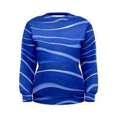 Lines Swinging Texture  Blue Background Women s Sweatshirt