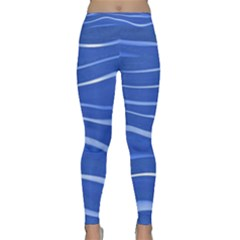 Lines Swinging Texture  Blue Background Classic Yoga Leggings
