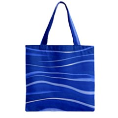Lines Swinging Texture  Blue Background Zipper Grocery Tote Bag