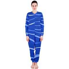 Lines Swinging Texture  Blue Background Onepiece Jumpsuit (ladies)