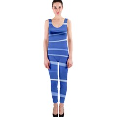 Lines Swinging Texture  Blue Background Onepiece Catsuit