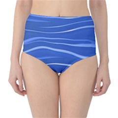 Lines Swinging Texture  Blue Background High Waist Bikini Bottoms