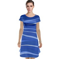 Lines Swinging Texture  Blue Background Cap Sleeve Nightdress