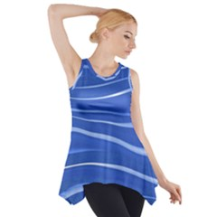 Lines Swinging Texture  Blue Background Side Drop Tank Tunic