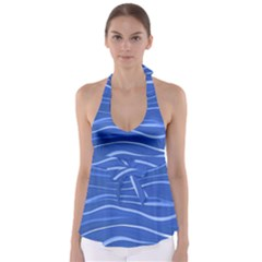 Lines Swinging Texture  Blue Background Babydoll Tankini Top