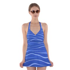 Lines Swinging Texture  Blue Background Halter Swimsuit Dress