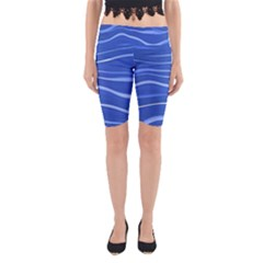 Lines Swinging Texture  Blue Background Yoga Cropped Leggings