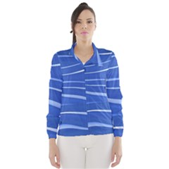 Lines Swinging Texture  Blue Background Wind Breaker (women)