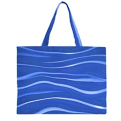 Lines Swinging Texture  Blue Background Large Tote Bag