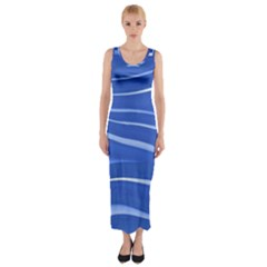 Lines Swinging Texture  Blue Background Fitted Maxi Dress