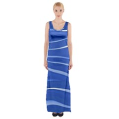 Lines Swinging Texture  Blue Background Maxi Thigh Split Dress