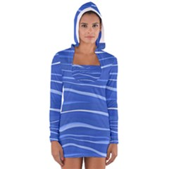 Lines Swinging Texture  Blue Background Women s Long Sleeve Hooded T Shirt