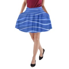 Lines Swinging Texture  Blue Background A-Line Pocket Skirt
