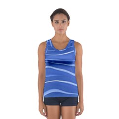Lines Swinging Texture  Blue Background Women s Sport Tank Top
