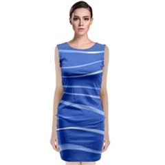 Lines Swinging Texture  Blue Background Classic Sleeveless Midi Dress