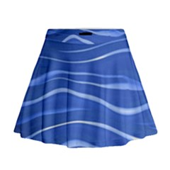 Lines Swinging Texture  Blue Background Mini Flare Skirt
