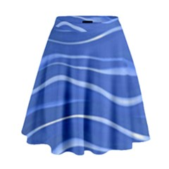 Lines Swinging Texture  Blue Background High Waist Skirt