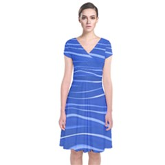 Lines Swinging Texture  Blue Background Short Sleeve Front Wrap Dress
