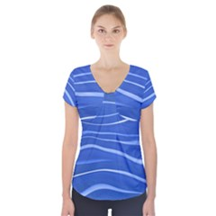 Lines Swinging Texture  Blue Background Short Sleeve Front Detail Top