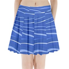 Lines Swinging Texture  Blue Background Pleated Mini Skirt