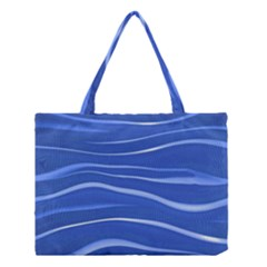 Lines Swinging Texture  Blue Background Medium Tote Bag