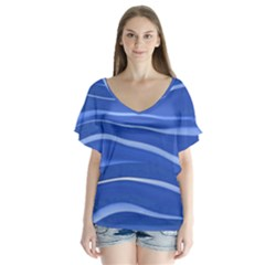 Lines Swinging Texture  Blue Background Flutter Sleeve Top