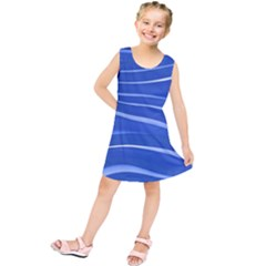 Lines Swinging Texture  Blue Background Kids  Tunic Dress