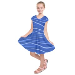 Lines Swinging Texture  Blue Background Kids  Short Sleeve Dress